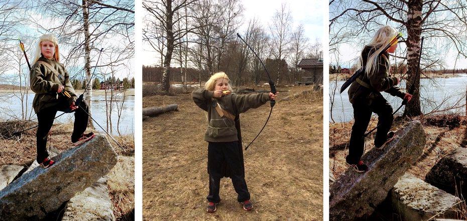 Jousiammuntaharrastusta ja seikkailua a'la 8-vuotias Eepi-Legolas ja muu perhe