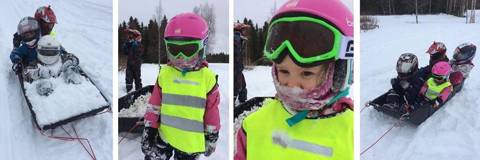 Talvinen riehapäivä: moottorikelkkailua, ahkiokyytiä ja mäenlaskua