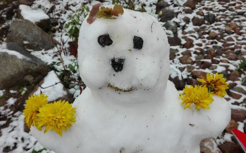 lasten kanssa tehty lumiukko