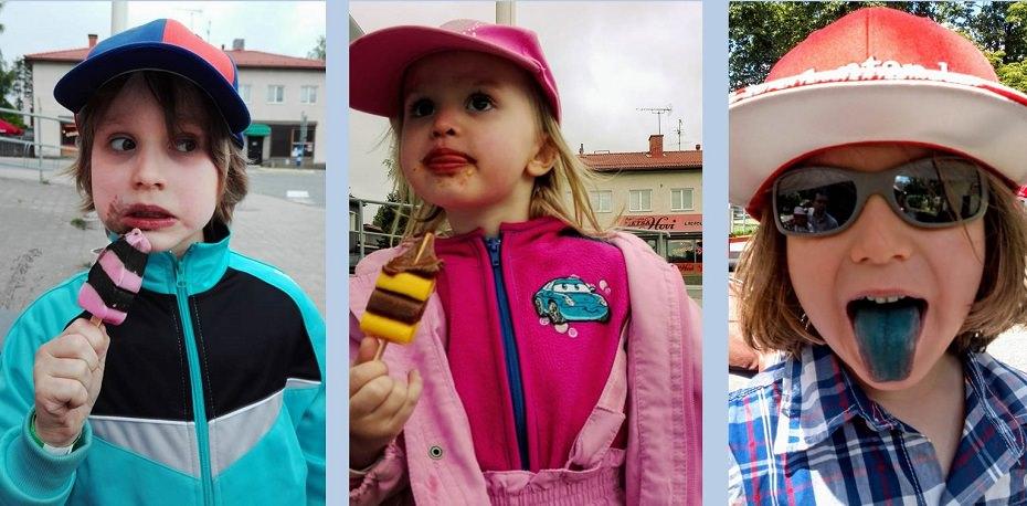 lapset syövät jäätelöä
