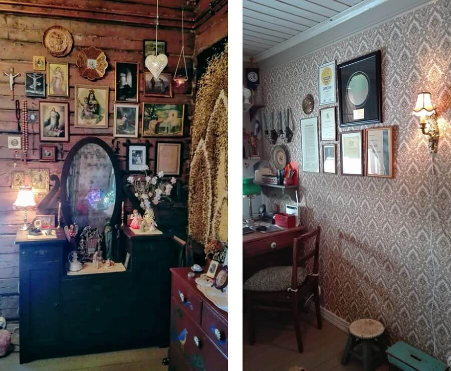 Sommittele seinälle vaikuttava kokoelma yhteensopivista tauluista ja koristeista
