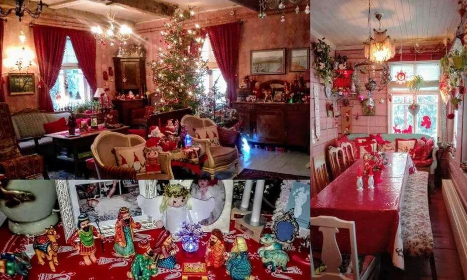 Joulukodin sisustus: värejä, valoja, tonttuja, enkeleitä