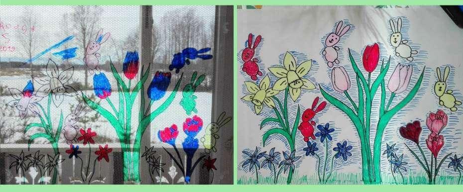 Helppoa pääsiäisaskartelua: kevätkukkia ikkunaan