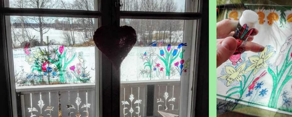 ikkunakoristeen kiinnittäminen ikkunaan